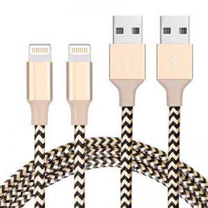Pack de 2 Câble Lightning vers USB 2M Ulinek Câble Chargeur iPhone en Fibre de Nylon Tressé, Fil de Données avec Connecteur Ultra Résistant pour Apple iPhone 8 / 8 Plus / 7 / 7 Plus / 6s / 6s Plus / 6 / 6 Plus / 5c / 5s / 5 / SE, iPad Pro, Air, iPad mini image 0 produit