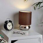 PAIRE - Lampes de Table, Chevet Touch Moderne. Variateur Touch intégré. Chrome Brossé/Nickel avec Abat-Jour élégant en Tissu Marron Foncé de la marque MiniSun image 4 produit