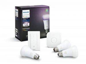 Philips Hue Kit de démarrage White and Color Ambiance avec 3xE27 10W [pont et interrupteur avec variateur inclus], un kit de lampes connectées - Ampoules à variation de couleurs - Fonctionne avec Alexa de la marque Philips Lighting image 0 produit