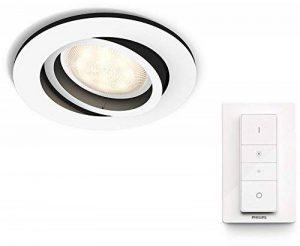 Philips Hue Luminaire télécommandé Spot encastré MILLISKIN Rond Blanc + Dim Switch télécommande Hue variateur de lumière - Fonctionne avec Alexa de la marque Philips Lighting image 0 produit