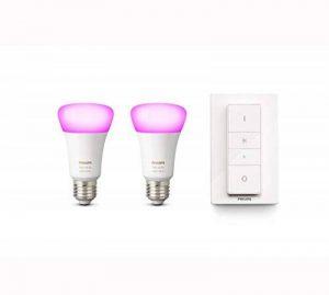 Philips Hue Pack de 2 ampoules connectées White & Color E27 + Télécommande nomade variateur de lumière Hue - Fonctionne avec Alexa de la marque Philips-Lighting image 0 produit
