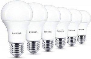 Philips LED 11W (75W) à vis Edison E27Ampoules Blanc Chaud, givré–Lot de 6,, E27, 11W, lot de 6 de la marque Philips image 0 produit