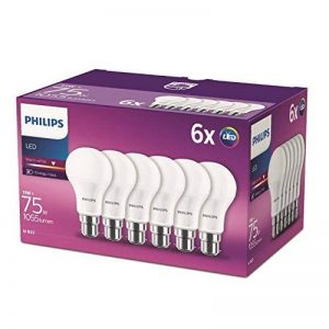 Philips Lot de 6 Ampoules LED Standard Culot B22, 11W équivalent 75W, Blanc Chaud 2700K, Dépolie de la marque Philips image 0 produit