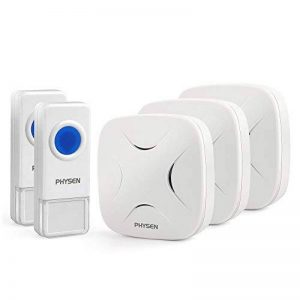 PHYSEN Modèle H3 Kit de sonnette sans fil étanche 2 boutons poussoirs à distance et 3 récepteurs enfichables, jusqu'à 300m, 4 niveaux de volume réglables et 52 chimes pour maison / bureau de la marque PHYSEN image 0 produit