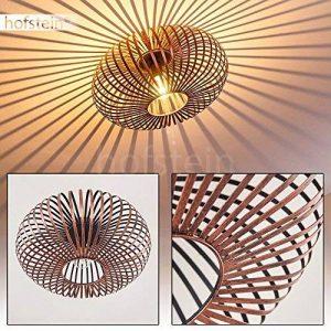 Plafonnier Oravi en métal de couleur cuivre - Lampe extravagante avec abat-jour accrocheur et effets de lumière au plafond - Douille 1 x E27 - Lampe d'ambiance pour salon - couloir - chambre de la marque hofstein image 0 produit
