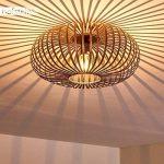 Plafonnier Oravi en métal de couleur cuivre - Lampe extravagante avec abat-jour accrocheur et effets de lumière au plafond - Douille 1 x E27 - Lampe d'ambiance pour salon - couloir - chambre de la marque hofstein image 3 produit