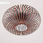 Plafonnier Oravi en métal de couleur cuivre - Lampe extravagante avec abat-jour accrocheur et effets de lumière au plafond - Douille 1 x E27 - Lampe d'ambiance pour salon - couloir - chambre de la marque hofstein image 4 produit