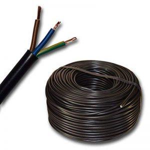 Plastique Tuyau Conduite de câble avec dispositif de câbles H03VV F 3x 0,75mm² 3G0,75(mm)–Couleur: Noir 10m/15m/20M/25M/30m/35m/40m/45M/50m/55m/60M etc. jusqu'à 100m à 5m Grain au choix de la marque EBROM image 0 produit