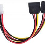 Poppstar - Câble adaptateur Y d'alimentation pour S-ATA, fiche Molex de 4-pin vers 2x Connecteurs SATA de 15-pin, couleur du câble rouge jaune noir de la marque Poppstar image 3 produit