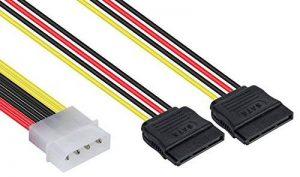 Poppstar - Câble adaptateur Y d'alimentation pour S-ATA, fiche Molex de 4-pin vers 2x Connecteurs SATA de 15-pin, couleur du câble rouge jaune noir de la marque Poppstar image 0 produit
