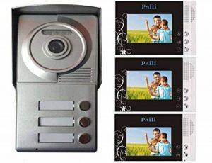 """Portier interphone 3 appartements + 3 écrans noirs 4.3"""" de la marque BT Security image 0 produit"""