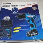 Powellfrance - Perceuse Visseuse Sans Fil avec batterie, 18v li-ion:1300mAh. couple:30NM.vitesse:1300rpm.mandarin:10mm; 17réglages de couples,Lampe de LED de la marque POWELLFRANCE image 1 produit