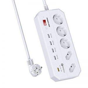 POWERADD [Update] Multiprise Parasurtenseur/parafoudre Support QC3.0 USB 5-Outlet Power Strip avec 4 Ports USB de Recharge avec Un QC3.0 USB de Recharge, Cordon 1.8 mètres de la marque POWERADD image 0 produit