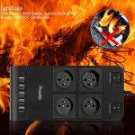 Powerjc Multiprises - Parasurtenseur Parafoudre mit 4 Prises avec 5 Ports USB, 3500J Protection Surtensions 2M Rallonge Multiprise de la marque Powerjc image 4 produit