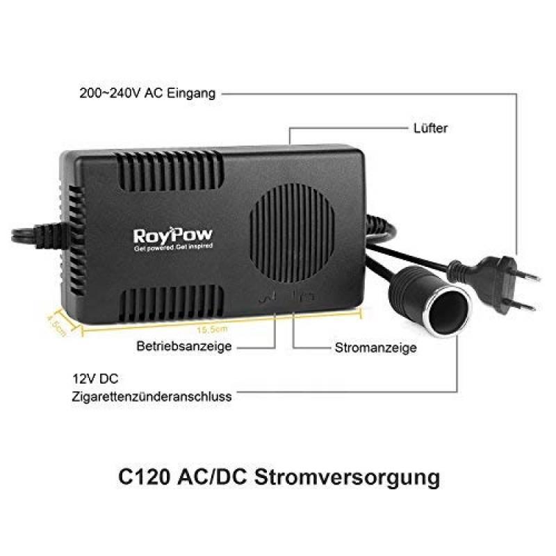 RoyPow Adaptateur Secteur pour Voiture AC vers DC 230 V vers 12 V 2 A avec Prise Allume-Cigare