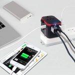 Prise de Voyage, 4 Ports USB et 1 Adaptateur de Voyage Universel de Type C, Tout en Un Adaptateur Universel pour Téléphones Mobiles et tablettes-HLT Plug (Rouge) de la marque HLT image 1 produit