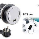 PriserevoltTable avec prise de courant avec port USB et standard, 60mm de diamètre (prise encastrable) de la marque revolt image 1 produit