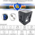 [PROMO] LOT DE 2 ADAPTATEURS VOYAGE (BLANC ET NOIR) - Compatible dans plus de 150 pays US/UK/EU/AUS - Adaptateur de voyage Tout-en-Un - Adaptateur universel de voyage - Adaptateur de voyage multifonction - Prise de voyage avec chargeur USB - 2 ports USB i image 4 produit