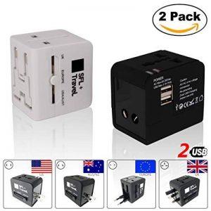 [PROMO] LOT DE 2 ADAPTATEURS VOYAGE (BLANC ET NOIR) - Compatible dans plus de 150 pays US/UK/EU/AUS - Adaptateur de voyage Tout-en-Un - Adaptateur universel de voyage - Adaptateur de voyage multifonction - Prise de voyage avec chargeur USB - 2 ports USB i image 0 produit