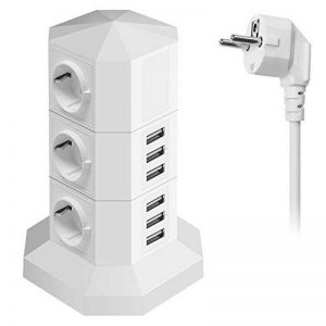 [Promotion] Multiprise Electrique USB 6 Prise 6 Ports USB, Bloc Prise Parafoudre et Surtensions avec Interrupteur Individuel, Tour Multiprise USB Verticale Bloc Multiprises Electriques Parasurtenseur , Cordon d'alimentation 2M, Blanc de la marque JZBRAIN image 0 produit