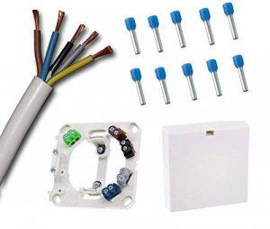 Raccordement de cuisinière Boîte avec câble 3,5m de raccordement de cuisinière Blanc H05VV-F 5G2,5mm² (3,5m) et borne Câble Compatible avec les fils colorés avec 10x Assorties Ader Manchons (Prix de base Câble 3,30€/m) de la marque EBROM image 0 produit
