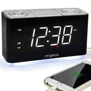 Radio réveil FM Réveil lumière de Nuit, Dual Alarms Contrôle de Gradient de luminosité Automatique, écran LED Blanc Grand Largeur 1,4 Pouce, Batterie Rechargeable d'entrée auxiliaire (iTOMA CKS507) … de la marque iTOMA image 0 produit