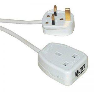 RALLONGE MUTECPOWER ELECTRIQUE BLANCHE 3M - câble H05VV- F 3X0.75mm² rond. Puissance maxi 3680 Watts en 230 Volts. Equipé d'une fiche mâle 2 P+Terre et d'une fiche femelle 2 P+T, 16 ampères. Fiche électrique adaptée à la Grande-Bretagne de la marque Mutec image 0 produit