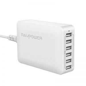 RAVPower Chargeur USB Universel 6 Ports Chargeur iPhone Sortie 60W / 12A 5V, Technologie iSmart, International 100-240V Chargeur de Voyage Chargeur de Bureau pour iPhone XS/XS Max/XR / 8- Blanc de la marque RAVPower image 0 produit