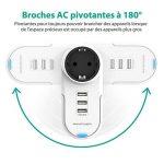 RAVPower Multiprises Parafoudre Parasurtenseur 4-en-1 Pivotant Chargeur iPhone Chargeur USB de Voyage 1 Sortie AC 3 Ports USB iPhone XS/XS Max/XR / 8-Blanc de la marque RAVPower image 2 produit