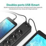 RAVPower Multiprises Parasurtenseur Rallonge 4 Prises avec 2 Ports USB iSmart + Interrupteur Dispositif Longueur 1.5 m et Encoches de Fixation (Intensité de Sortie Totale 3.1A - Noir) de la marque RAVPower image 1 produit