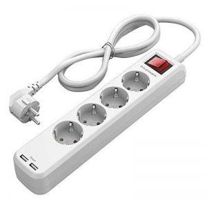 RAVPower Multiprises Parasurtenseur Rallonge 4 Prises avec 2 Ports USB iSmart + Interrupteur Dispositif Longueur 1.5 m et Encoches de Fixation (Intensité de Sortie Totale 3.1A - Blanc) de la marque RAVPower image 0 produit