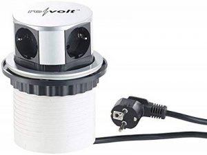 reVolt - Multiprise escamotable: prise de courant professionnelle rétractable, 4prises, ronde, diamètre de 100mm (prise de courant pour cuisine) de la marque revolt image 0 produit