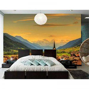 Rureng Personnalisé 3D Papier Mural Épuré Suisse Maisons Ciel Montagnes Nature Papier Peint Salon Canapé Tv Mur Chambre Mur Papier-250X175Cm de la marque Rureng image 0 produit