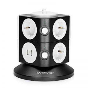 SAFEMORE Bloc Prise Parafoudre/Parasurtenseur, Tour Multiprise USB Verticale Universel avec 7 Prises 2 Ports USB de Recharge, Bloc Multiprises Electriques avec Interrupteur Individuel et Protection Surtensions, Cordon d'alimentation 2M, Noir plus Blanc de image 0 produit