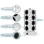 SAFEMORE Tour Multipris avec 15 Prises de Recharge et 2 Ports USB (5V 2,4A), Interrupteur d'Alimentation Adaptateur Douille, Porte Sécuritaire, 2500W/10A (Noir) de la marque SAFEMORE image 2 produit