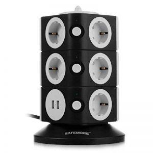 SAFEMORE Tour Multiprise avec 11 Prises de Recharge et 2 Ports USB (5V 2,1A), Interrupteur d'Alimentation Adaptateur Douille, Porte Sécuritaire, 2500W/10A - Noir + Blanc de la marque SAFEMORE image 0 produit