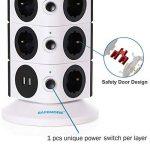 SAFEMORE Tour Multiprise Parasurtenseurs 11 Prises avec 2 Ports USB de Recharge Protection Strip avec Cordon 6,5ft/ 2M(Blanc + Noir, 3L) de la marque SAFEMORE image 3 produit