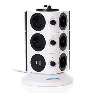 SAFEMORE Tour Multiprise Parasurtenseurs 11 Prises avec 2 Ports USB de Recharge Protection Strip avec Cordon 6,5ft/ 2M(Blanc + Noir, 3L) de la marque SAFEMORE image 0 produit