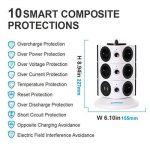 SAFEMORE Tour Multiprise Parasurtenseurs 11 Prises avec 2 Ports USB de Recharge Protection Strip avec Cordon 6,5ft/ 2M(Blanc + Noir, 3L) de la marque SAFEMORE image 1 produit