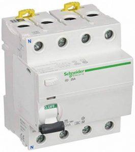 Schneider Electric A9r31425Iid Interrupteur différentiel, classe SI, Instant, 30mA sensibilité, 4P, 91mm de hauteur x 72mm de largeur x profondeur 73.5mm, 25au courant, Blanc de la marque Schneider Electric image 0 produit