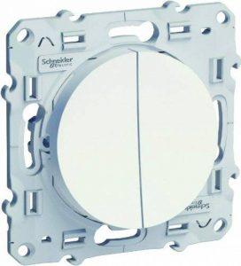 Schneider Electric SC5S52A214 Double interrupteur ou double Va et Vient Odace 230 V Blanc de la marque Schneider Electric image 0 produit