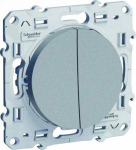 Schneider Electric SC5S53A214 Double interrupteur ou Double Va et Vient Odace 230 V Alu de la marque Schneider Electric image 0 produit