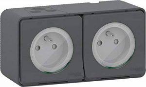Schneider Electric SC5SHN0212456 Double Prise de courant 2 Pôle + Terre Horizontale mureva saillie, 250 V, Gris de la marque Schneider Electric image 0 produit