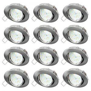 sebson 12x Spot encastrable Type 11 INCL. 5W Ampoules 230V LED Module Ra95 Flicker Free 400lm, Blanc Chaud 3000K, Downlight orientable alu ø83x21mm de la marque sebson image 0 produit