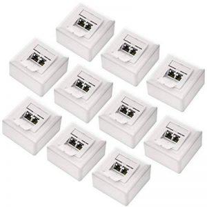 Set de deleyCON 10x prises réseau universelles Cat. 6 - 2x ports RJ45 - protégés- Apparent/encastré - Réseau ethernet 10 Gigabits - norme TIA/EIA-568A&B - blanc/blanc uni de la marque deleyCON image 0 produit