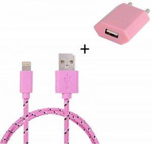 Shot Case - Pack Chargeur IPHONE 7 Plus Lightning (Cable Tresse 3m Chargeur + Prise Secteur USB) Murale Android Universel (Couleur Rose Pale) de la marque Shot Case image 0 produit