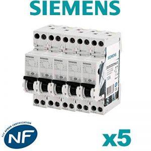 Siemens - Lot de 5 Disjoncteurs électriques phase + neutre 10A de la marque Siemens image 0 produit