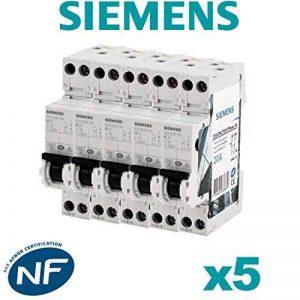 Siemens - Lot de 5 Disjoncteurs électriques phase + neutre 20A de la marque Siemens image 0 produit