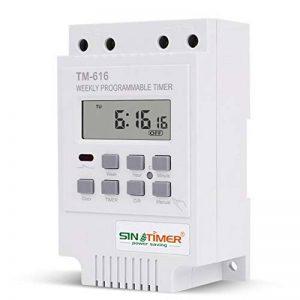 Homyl Minuterie Num/érique Programmateur Din Rail LCD Hebdomadaire Temps Alarme Blanc 220 v