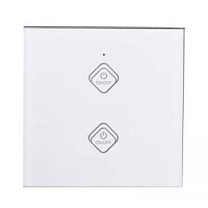 Smart WiFi Interrupteur Mural, Panneau Tactile Écran Soutien Android et iOS APP Compatible avec Alexa/Google Home LED Lumière Interrupteur variateur pour Smart Home.(2 Voies Blanche) de la marque Garsent image 0 produit